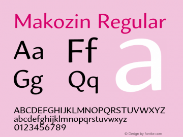 Makozin Regular Version 1.000;PS 001.000;hotconv 1.0.88;makeotf.lib2.5.64775 Font Sample