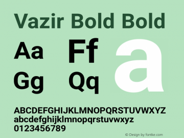 Vazir Bold Bold Version 6.1.0 Font Sample