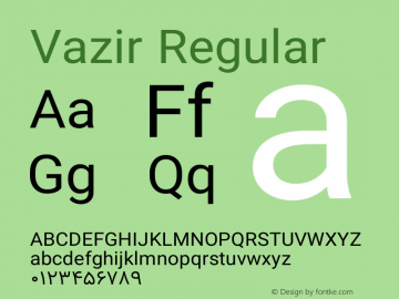 Vazir Regular Version 6.2.0 Font Sample