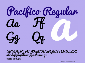 Pacifico Regular Version 1.000 Font Sample