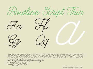 Bowline Script Thin Version 1.10 November 16, 2016 Font Sample