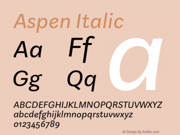 Aspen Italic Version 1.001图片样张