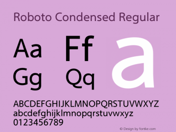 Roboto Condensed Regular Version 2.00 December 3, 2016 Font Sample
