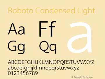 Roboto Condensed Light Version 2.00 December 3, 2016 Font Sample