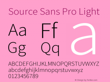 Source Sans Pro Light Version 2.0 Font Sample