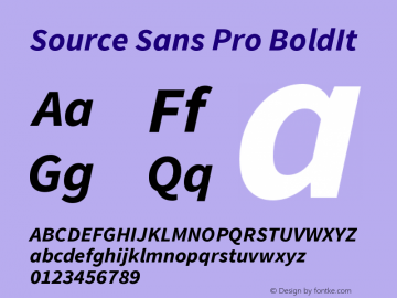 Source Sans Pro BoldIt Version 2.0 Font Sample