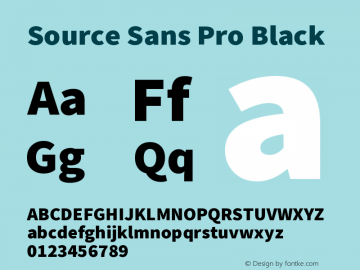 Source Sans Pro Black Version 2.0 Font Sample