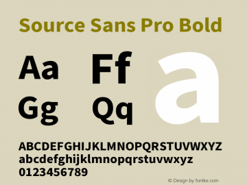 Source Sans Pro Bold Version 2.0 Font Sample