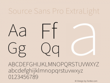 Source Sans Pro ExtraLight Version 2.0 Font Sample