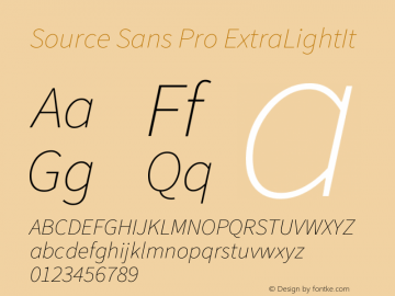 Source Sans Pro ExtraLightIt Version 2.0 Font Sample