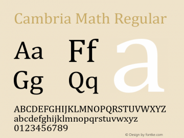 Cambria Math Regular Version 6.96 Font Sample