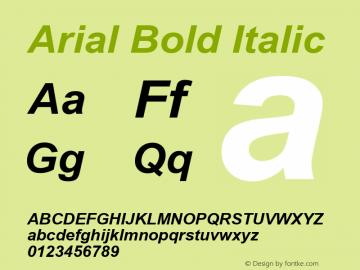 Arial Bold Italic Version 6.90 Font Sample