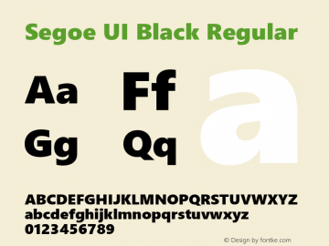 Segoe UI Black Regular Version 2.00图片样张