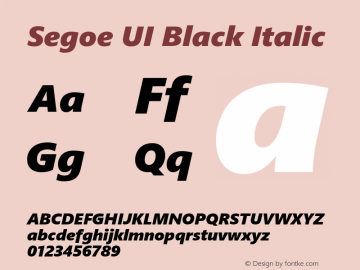 Segoe UI Black Italic Version 2.00图片样张