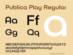 Publica Play Regular Version 1.000;PS 001.000;hotconv 1.0.88;makeotf.lib2.5.64775 Font Sample