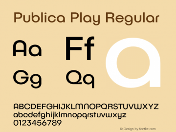 Publica Play Regular Version 1.000;PS 001.000;hotconv 1.0.88;makeotf.lib2.5.64775 Font Sample