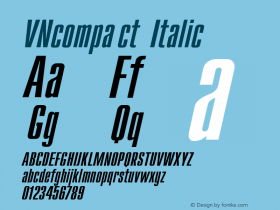 VNcompact Italic Converted from t:\CMI.TF1 by ALLTYPE Font Sample