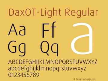 DaxOT-Light Regular Version 7.504; 2005 Font Sample