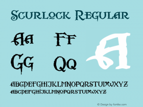Scurlock Regular Altsys Fontographer 4.0.3 7/7/99 Font Sample