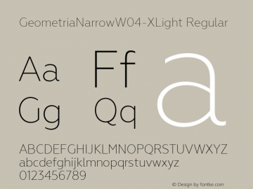 GeometriaNarrowW04-XLight Regular Version 1.00 Font Sample