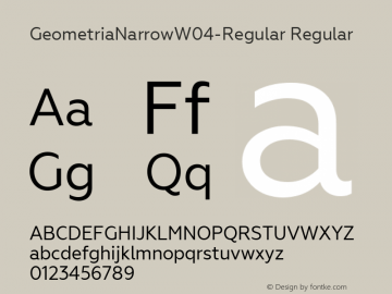 GeometriaNarrowW04-Regular Regular Version 1.00 Font Sample