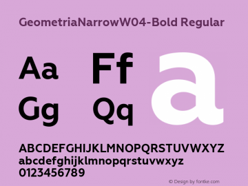 GeometriaNarrowW04-Bold Regular Version 1.00 Font Sample