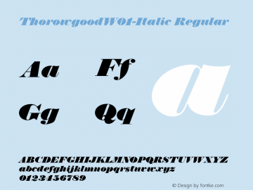 ThorowgoodW01-Italic Regular Version 1.00 Font Sample