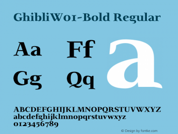 GhibliW01-Bold Regular Version 2.00 Font Sample