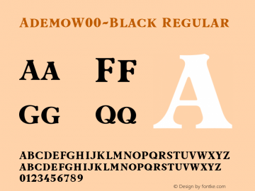 AdemoW00-Black Regular Version 1.101 Font Sample