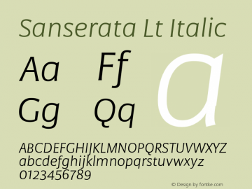 Sanserata Lt Italic Version 1.002 Font Sample