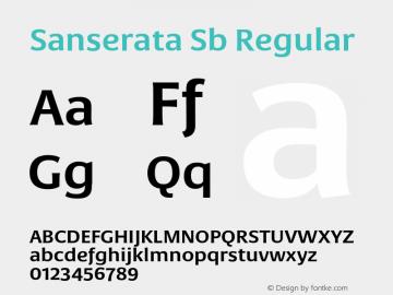 Sanserata Sb Regular Version 1.002 Font Sample