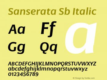 Sanserata Sb Italic Version 1.002 Font Sample