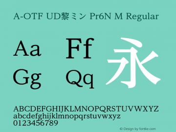 A-OTF UD黎ミン Pr6N M Regular Version 2.000;PS 2;hotconv 1.0.57;makeotf.lib2.0.21895 Font Sample