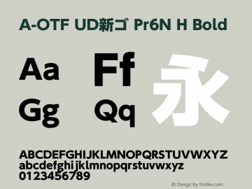 A-OTF UD新ゴ Pr6N H Bold Version 2.001;PS 2;hotconv 1.0.57;makeotf.lib2.0.21895 Font Sample