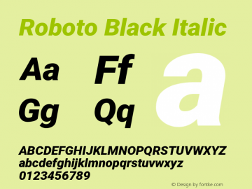 Roboto Black Italic Version 2.136; 2016图片样张
