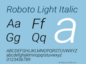 Roboto Light Italic Version 2.136; 2016图片样张