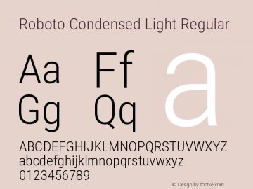 Roboto Condensed Light Regular Version 2.136; 2016图片样张