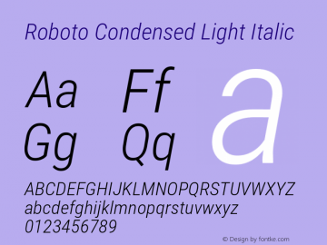 Roboto Condensed Light Italic Version 2.136; 2016图片样张