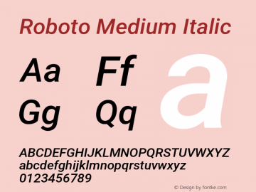 Roboto Medium Italic Version 2.136; 2016图片样张