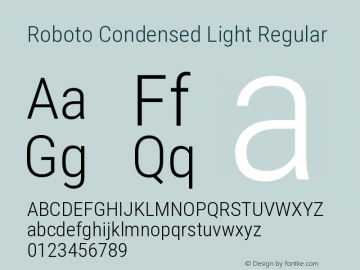 Roboto Condensed Light Regular Version 2.136图片样张