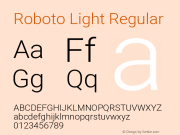 Roboto Light Regular Version 2.136图片样张