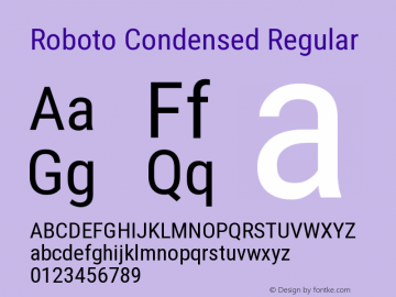 Roboto Condensed Regular Version 2.136 Font Sample