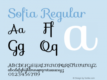 Sofia Regular Version 1.001 Font Sample