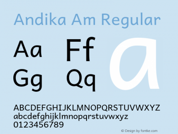Andika Am Regular Version 5.000 Font Sample