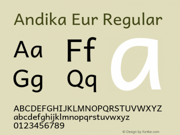Andika Eur Regular Version 5.000 Font Sample
