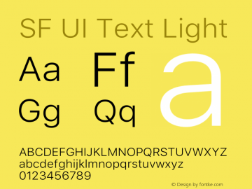 SF UI Text Light 12.0d6e2 Font Sample