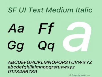 SF UI Text Medium Italic 12.0d6e2 Font Sample