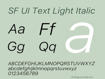 SF UI Text Light Italic 12.0d6e2 Font Sample