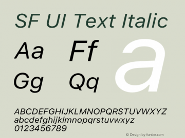 SF UI Text Italic 12.0d6e2 Font Sample
