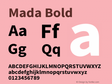 Mada Bold Version 1.004 Font Sample